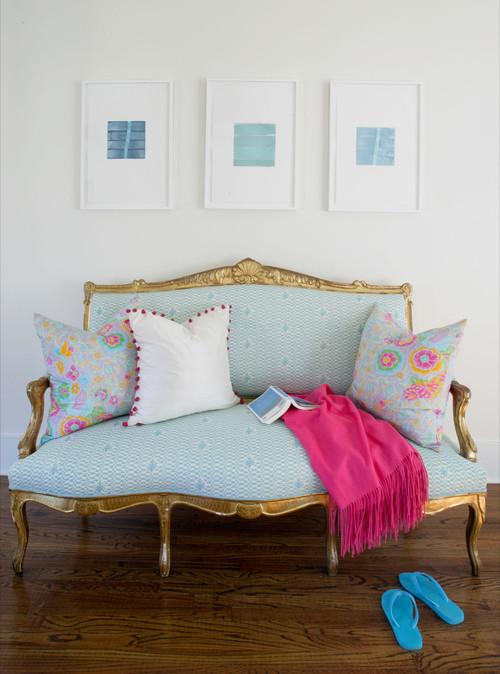 Blue & Pink bedroom eclectic bedroom