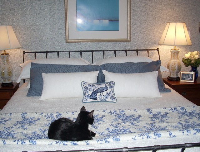 blue white bedroom with charles p rodgers bed