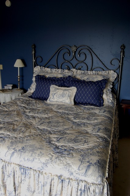 Blue & White French-Country Toile Bedroom mediterranean-bedroom