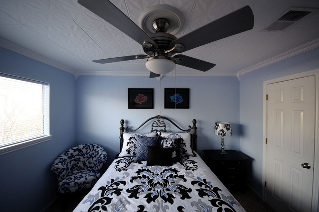 Blue Bedroom with Modern Ceiling traditional-bedroom