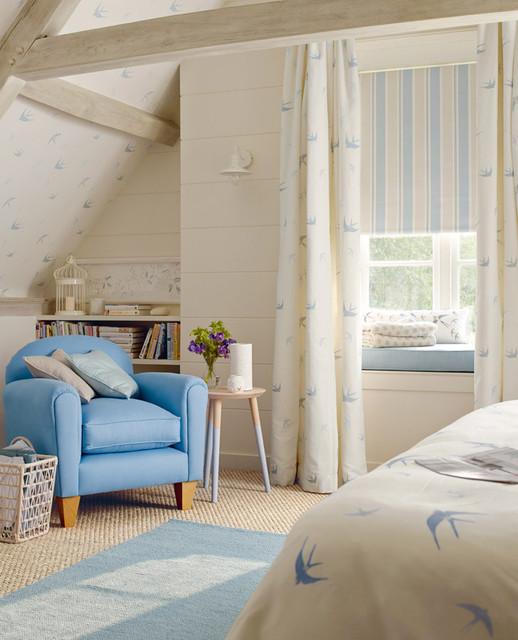 Blue Birds Seaspray Fabric Coastal, Laura Ashley Bluebirds Bedding