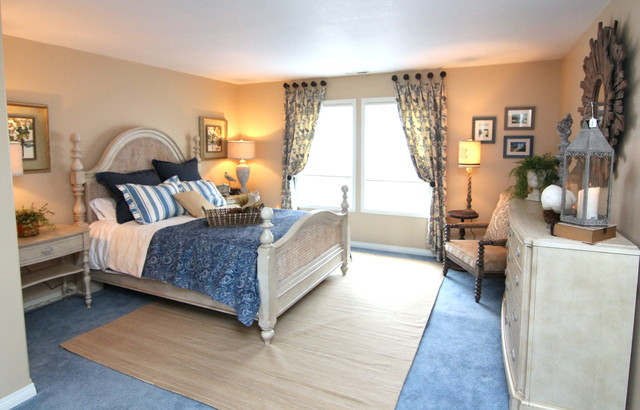 blue cream beach inspired bedroom