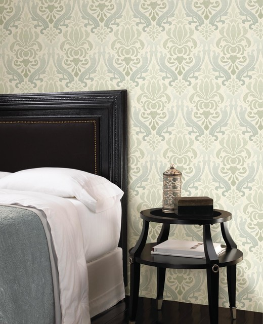 Blue Damask Wallpaper Contemporary Bedroom Boston By