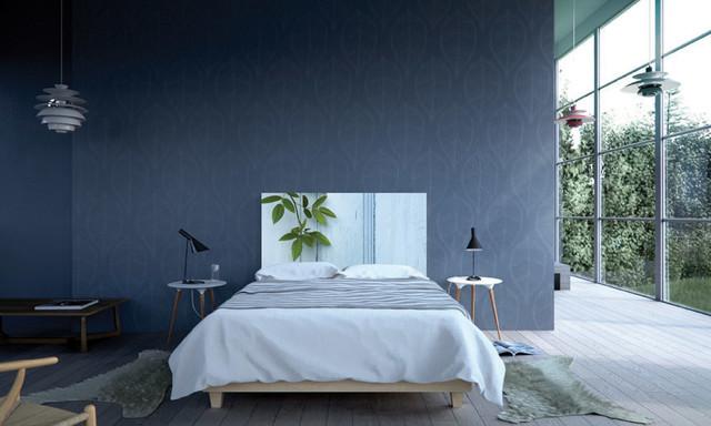 Blue Wall Design In Modern Scandinavian Bedroom Modern Bedroom