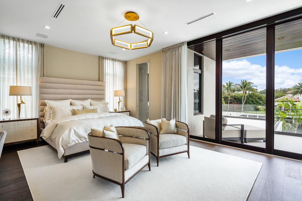 Bedroom - large contemporary master brown floor and dark wood floor bedroom idea in Miami with beige walls