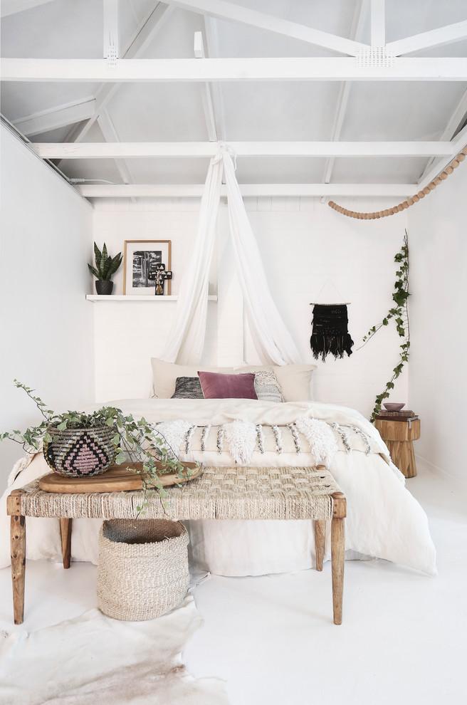 Bedroom - contemporary bedroom idea in Las Vegas with white walls