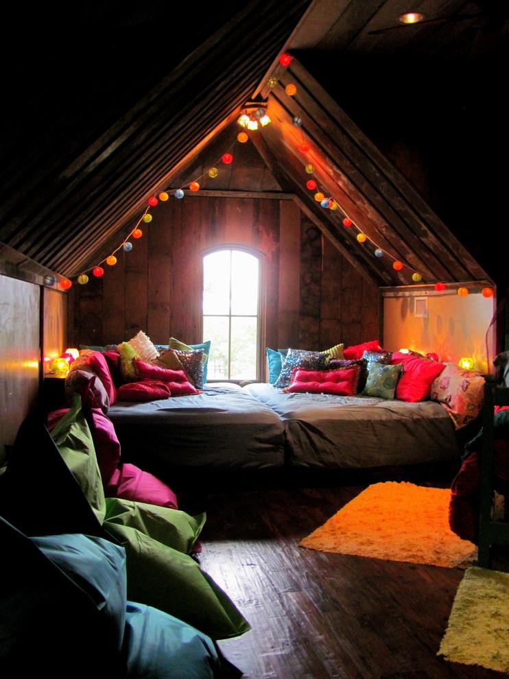 Bedroom - eclectic dark wood floor bedroom idea in Dallas