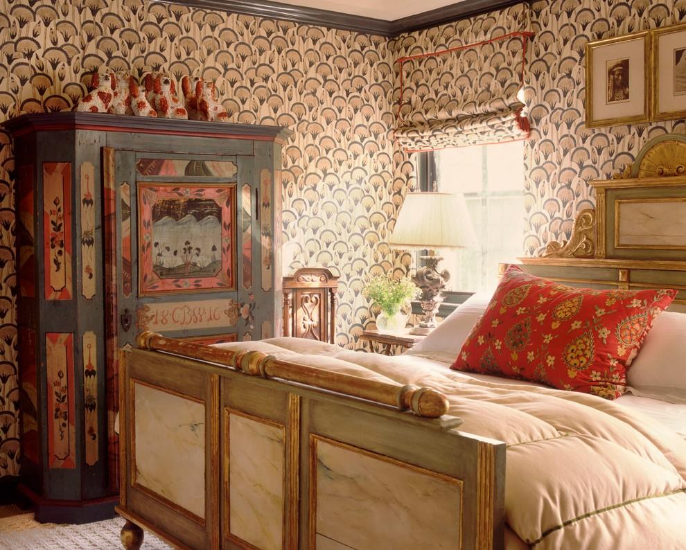 Bedroom - mid-sized eclectic dark wood floor bedroom idea in New York with beige walls and no fireplace