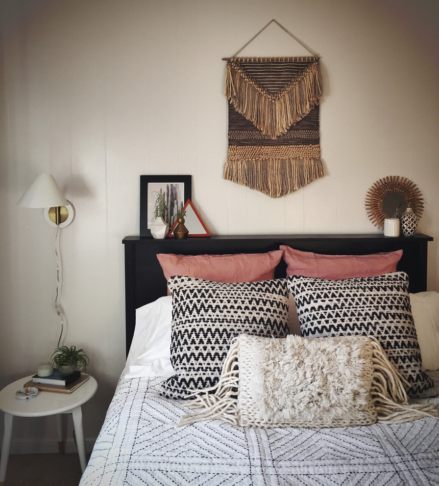 Small trendy master dark wood floor bedroom photo in San Diego with white walls and no fireplace