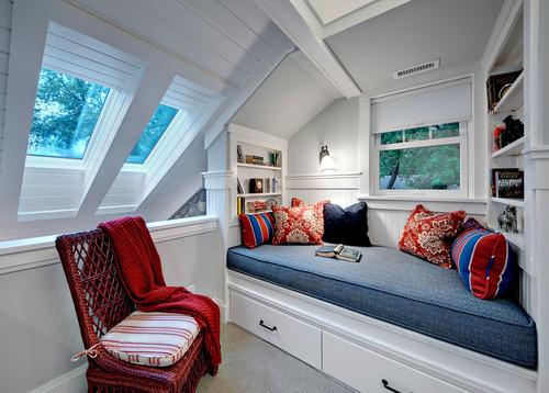 Book nook traditional bedroom