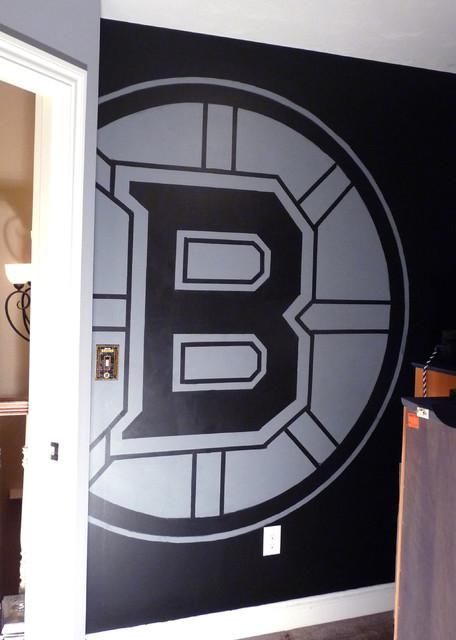 Boston bruins mural boy 39 s hockey theme room for Bruins bedroom ideas