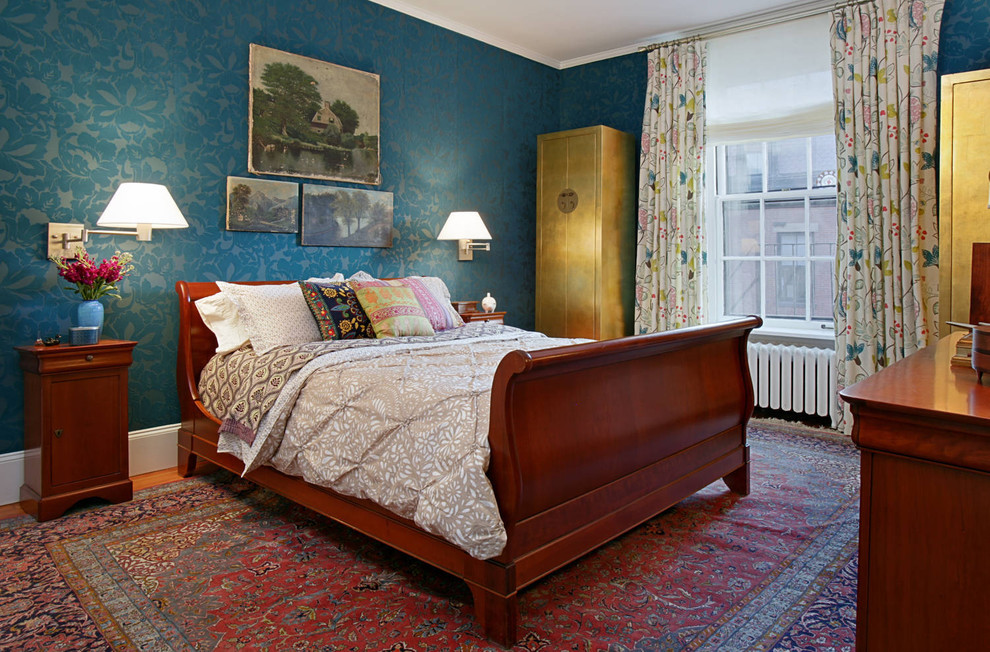 Example of a classic master bedroom design in Boston with multicolored walls and no fireplace