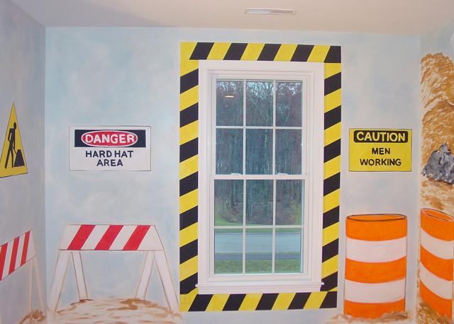 Boy 39 s room truck construction mural traditional for Boys construction bedroom ideas