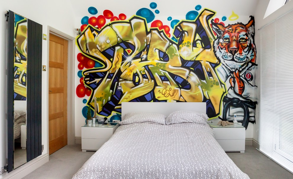 Inspiration for a contemporary concrete floor bedroom remodel in Essex