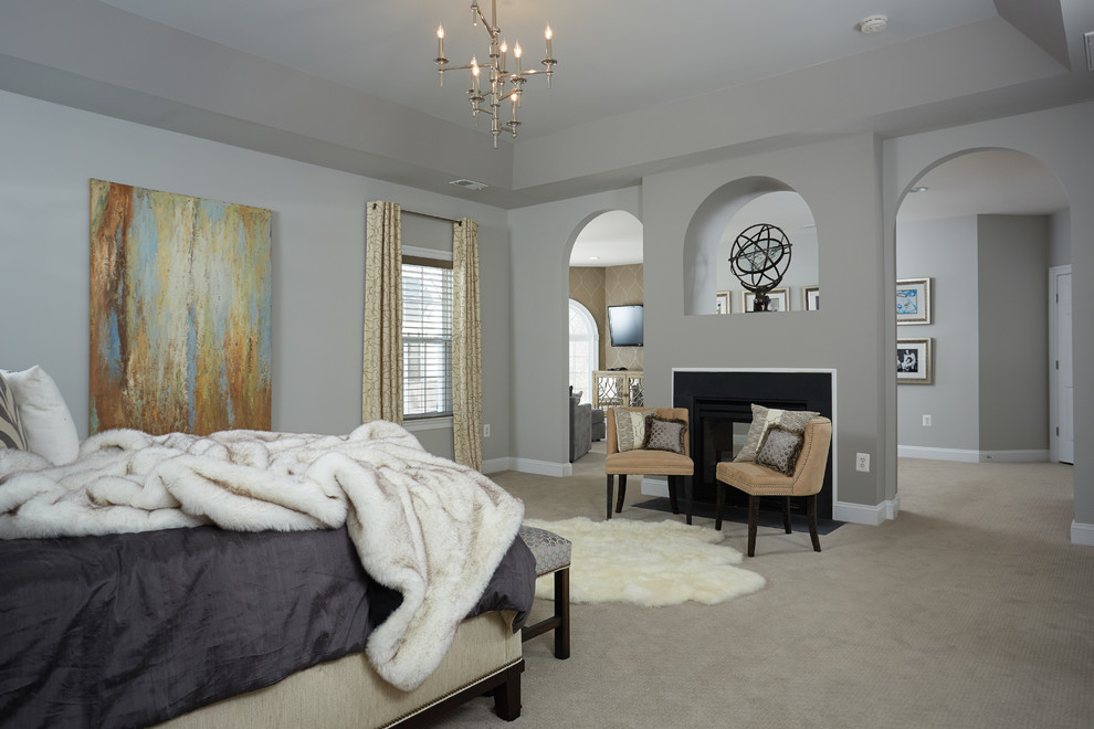 Bedroom - large transitional master carpeted bedroom idea in DC Metro with gray walls and no fireplace