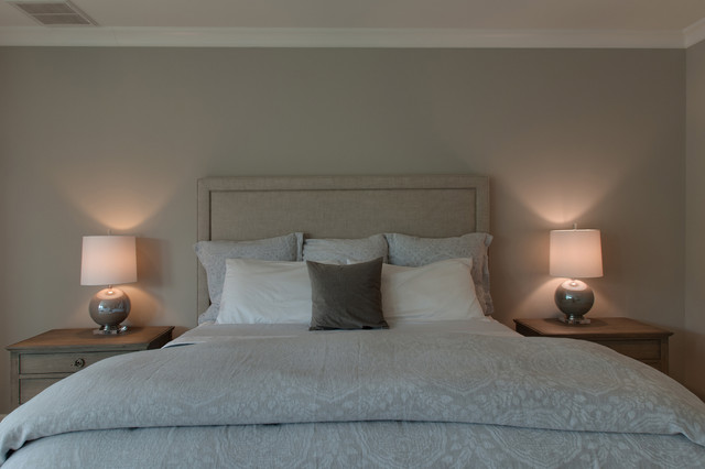 Inspiration for a large 1960s master carpeted and beige floor bedroom remodel in Nashville with gray walls
