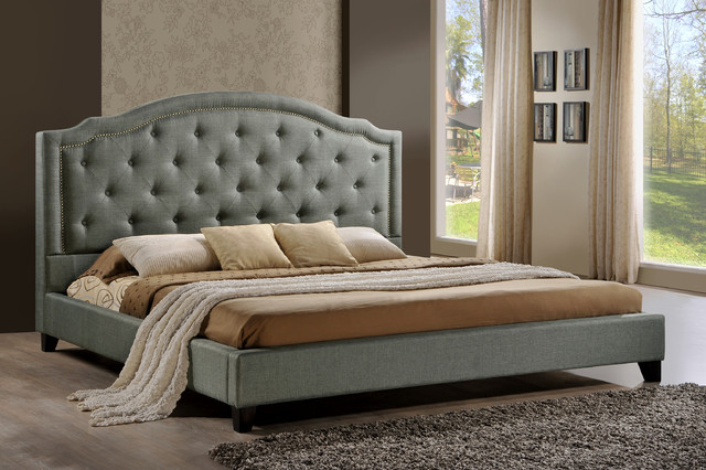 Tufted Upholstered Platform Bed In Grey Fabric Contemporary Platform