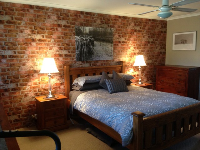 lighting ideas for attic - Brick Wallpaper Accent Wall in Bedroom Rustic Bedroom