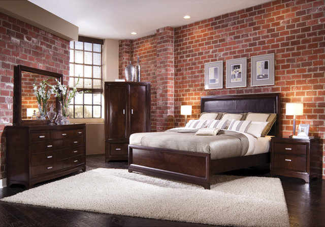 brick wallpaper traditional bedroom houston by