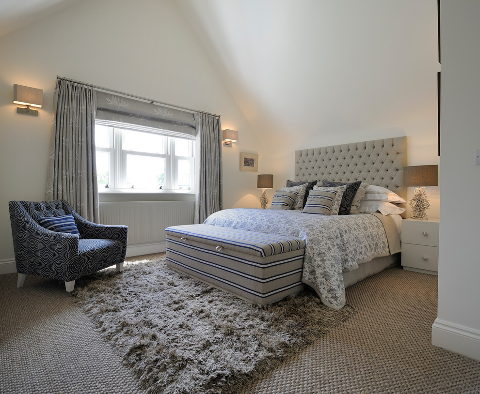 Bright & Calm Coastal Home - Transitional - Bedroom ... on Clare View Beige Outdoor Living Room id=69722
