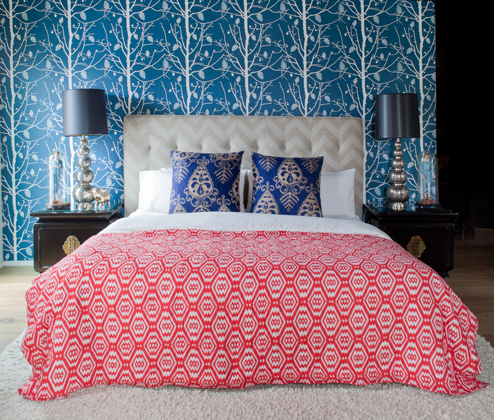 Example of a trendy bedroom design in San Francisco with blue walls