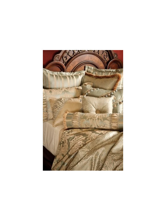 "Bedding 2013 - Taupe and Sea Spray color Damask Patterns enhanced with rushing, and enriched with opulent trims and beading. This Bed Set includes 1 King Oversized Duvet Cover (118"" w x 102"" L), three reversible 26"" x 26"" Euros Shams, two King shams 21"" x 36"" and four Decorative pillows. (1- 18"" x 24"", 1- 16"" x 16"", 1- 16"" x 20"" and 1-Tootise.Throw sold separately"