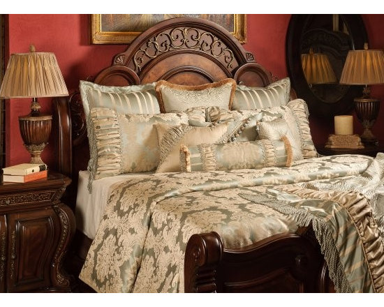 "Bedding 2013 - Taupe and Sea Spray color Damask Patterns enhanced with rushing, and enriched with opulent trims and beading. This Bed Set includes 1 King Oversized Duvet Cover (118"" w x 102"" L), three reversible 26"" x 26"" Euros Shams, two King shams 21"" x 36"" and four Decorative pillows. (1- 18"" x 24"", 1- 16"" x 16"", 1- 16"" x 20"" and 1-Tootise. Throw sold separately"