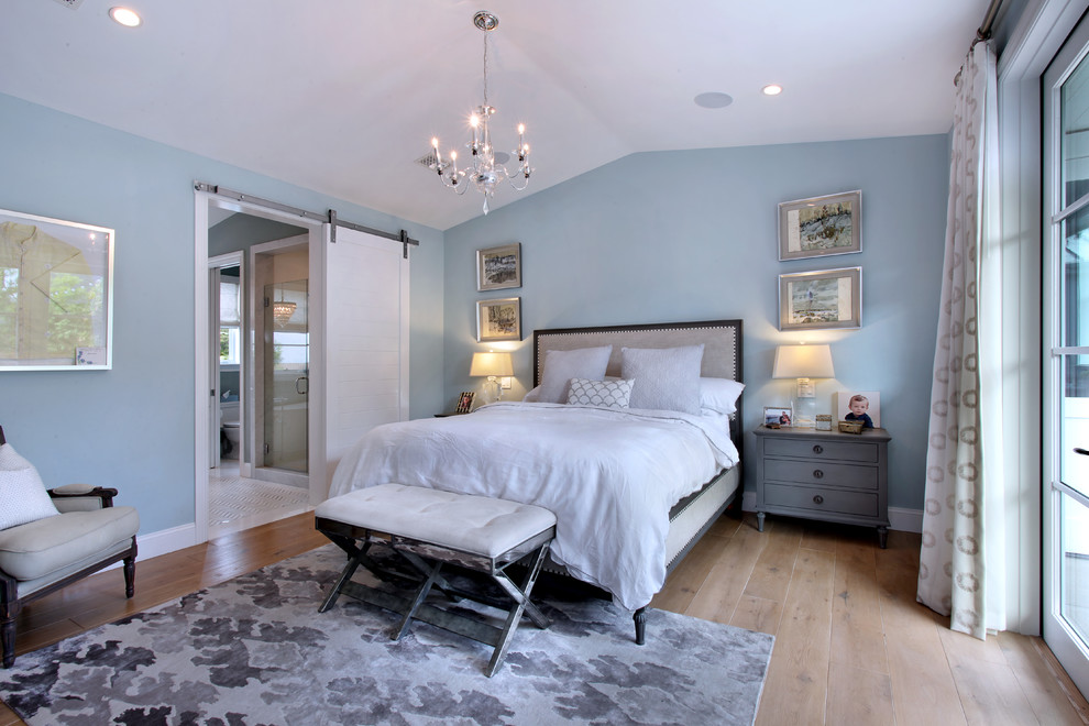 Inspiration for a transitional master medium tone wood floor bedroom remodel in Orange County with blue walls