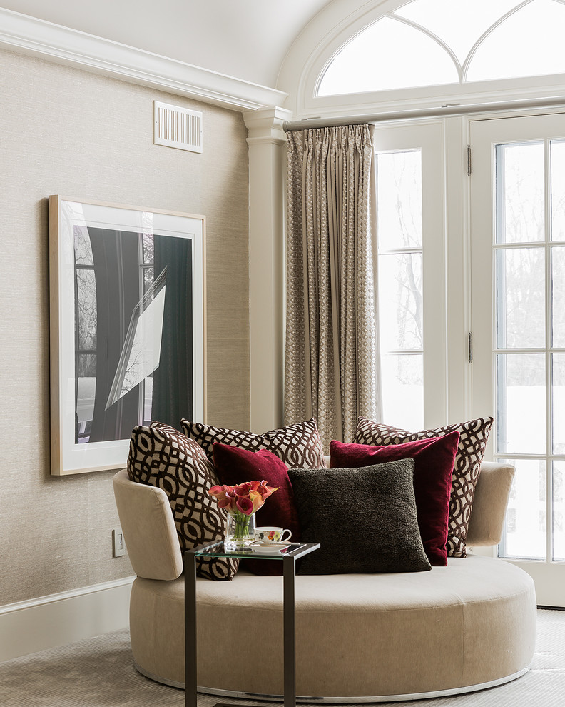 Example of a large transitional guest carpeted bedroom design in Boston with brown walls