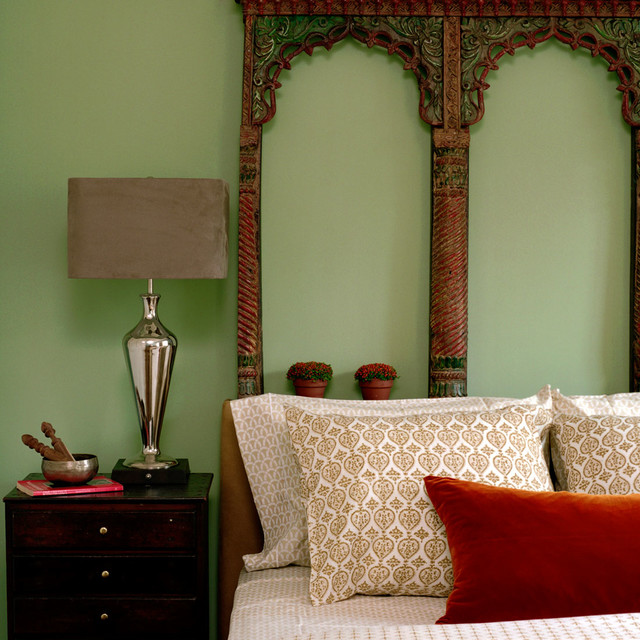 Transitional guest carpeted bedroom photo in New York with green walls and no fireplace