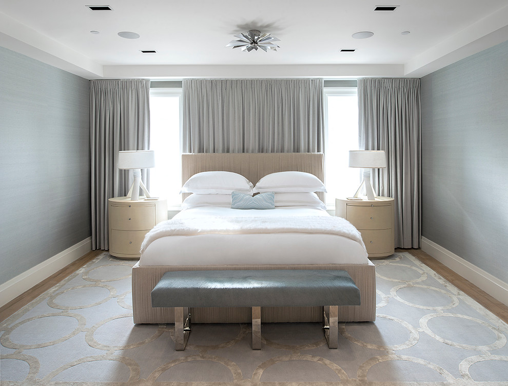 Bedroom - mid-sized contemporary master carpeted bedroom idea in New York with white walls