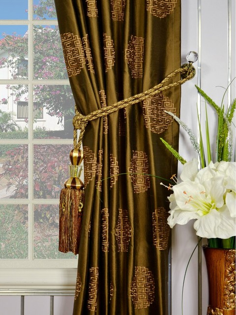 Brown Embroidered Chinese-inspired Single Pinch Pleat Dupioni Silk Curtains  - American Traditional - Bedroom - Denver - by Cheery Curtains   Houzz