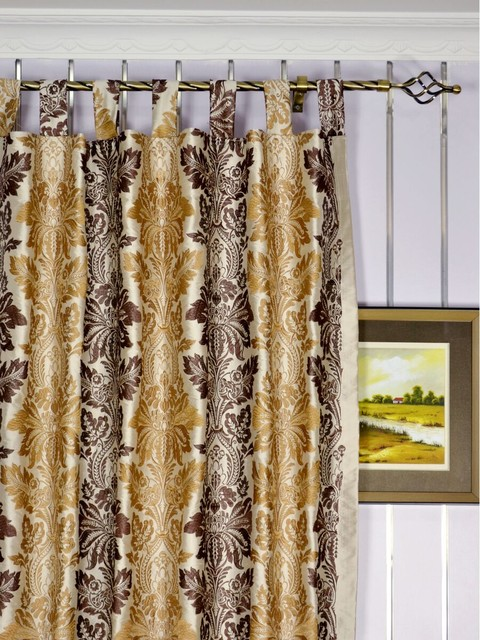 brown striped damask dupioni silk curtains  traditional  bedroom,