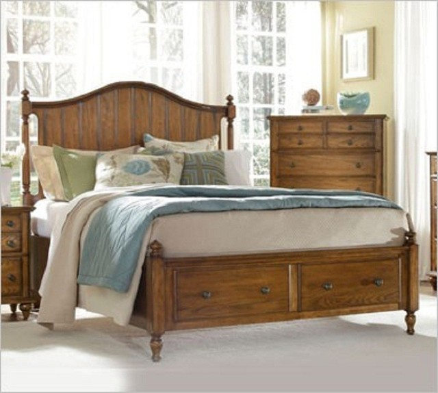 Broyhill hayden place oak panel bed with storage 4645 - Broyhill hayden place bedroom set ...