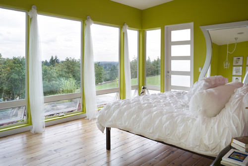 contemporary bedroom Color of the Month: Decorating with Bright Green