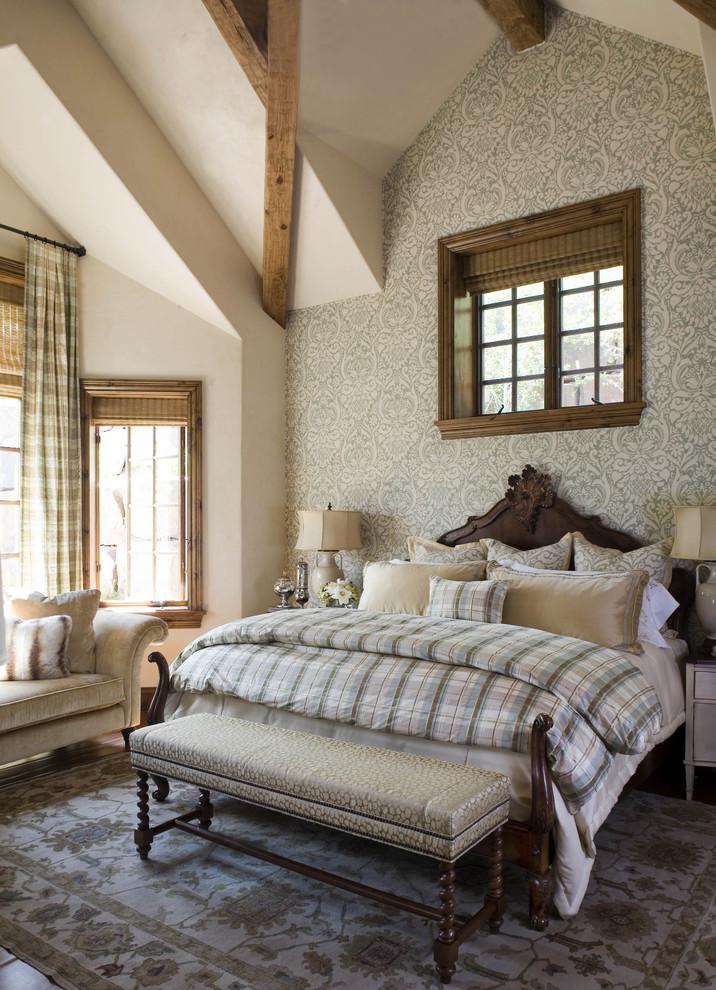 Bedroom - rustic bedroom idea in Denver with beige walls
