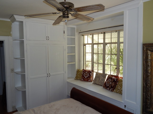 Beau Built In Armoire And Window Seating Traditional Bedroom
