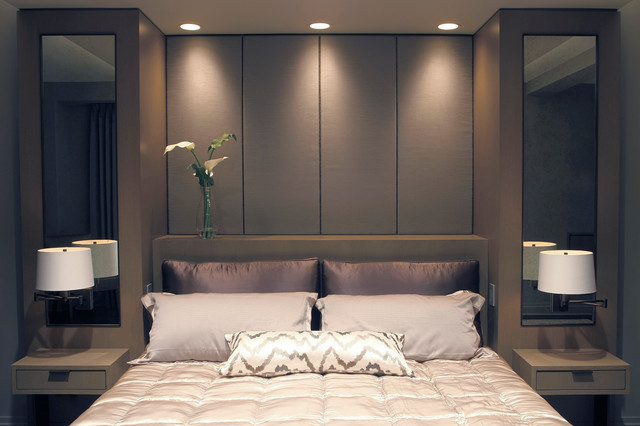 built in bed with upholstered panels modern bedroom. Black Bedroom Furniture Sets. Home Design Ideas