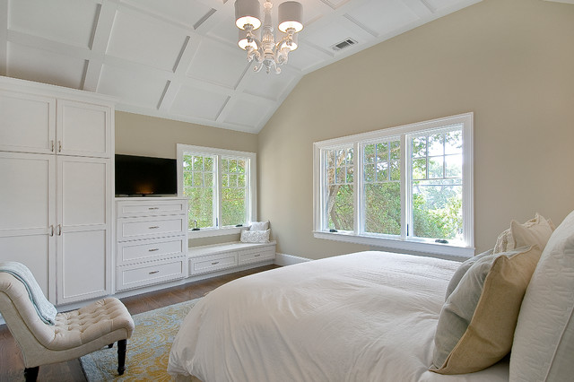 Example Of A Large Trendy Master Dark Wood Floor And Brown Bedroom Design In San