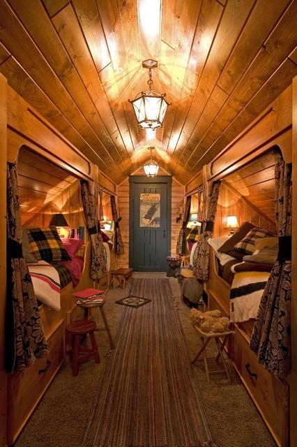 Built In Beds In Hallway Rustic Bedroom