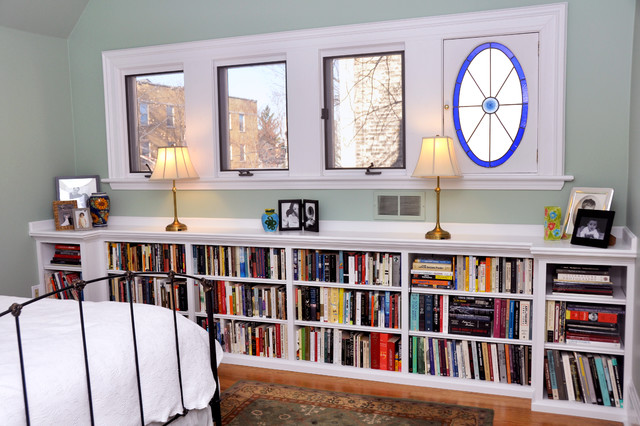 Built-in bookcases in bedroom traditional bedroom