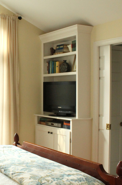 Built-in Bookshelves in our Master Bedroom - TV with cabinets below traditional bedroom