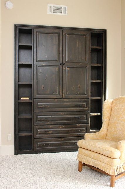 built in cabinets rustic bedroom atlanta by