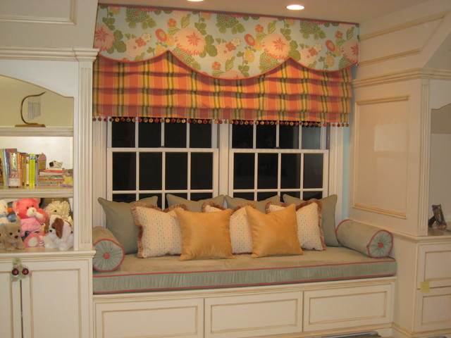 Built-in window seat fit for a princess traditional bedroom