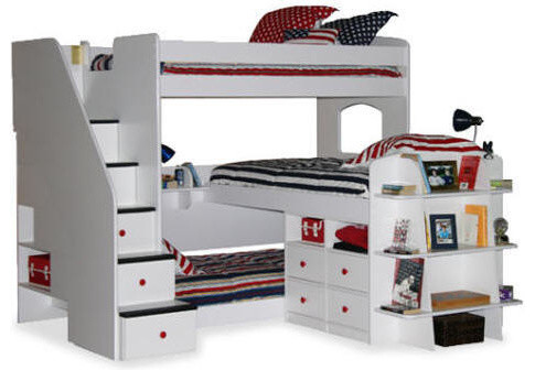 Bunk Beds For Three Transitional Bedroom