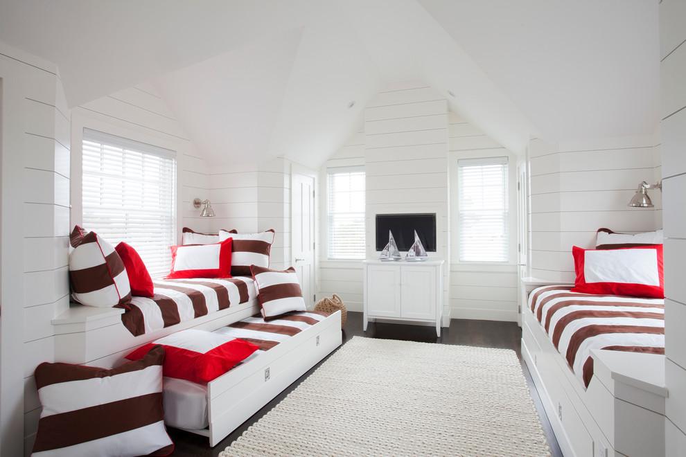 Bedroom - beach style guest dark wood floor bedroom idea in Boston with white walls