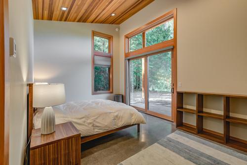 wood ceiling in bedroom