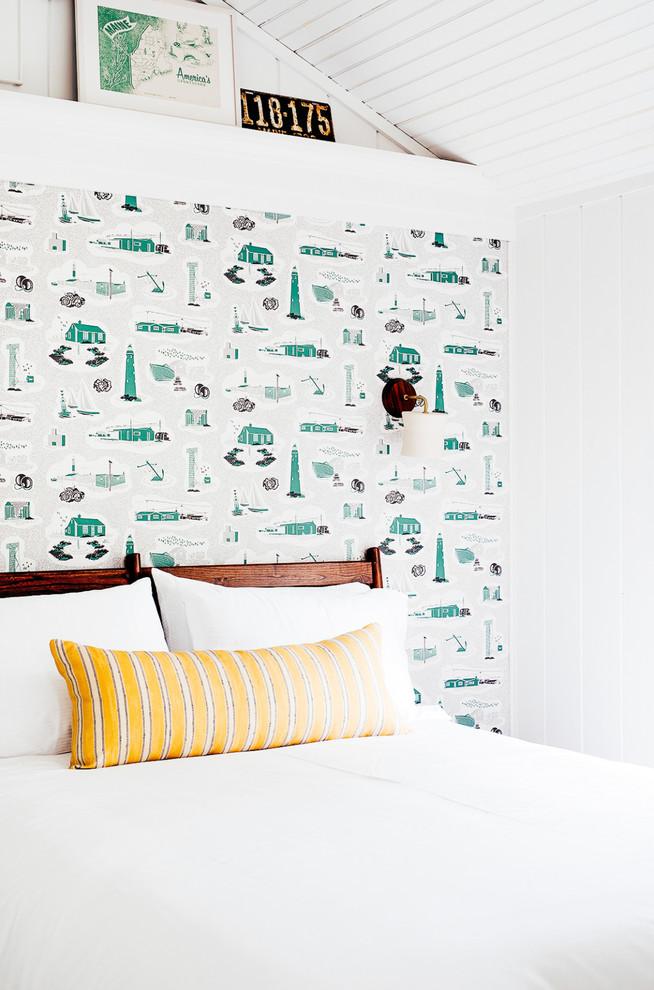 Bedroom - coastal bedroom idea in Portland Maine with white walls