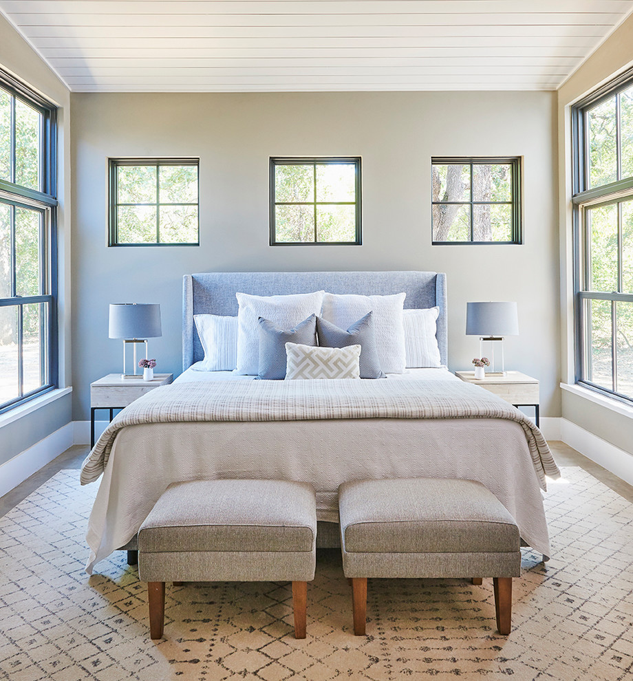 Bedroom - transitional master concrete floor and gray floor bedroom idea in Dallas with gray walls