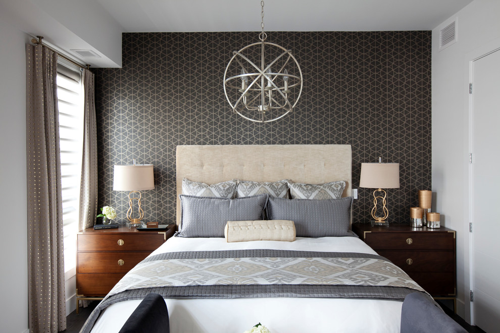 Bedroom - mid-sized transitional master dark wood floor bedroom idea in Calgary with white walls